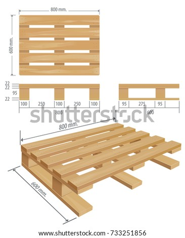 pallet board dimensions. middle wooden pallet in perspective, front and side view with dimensions. board dimensions e