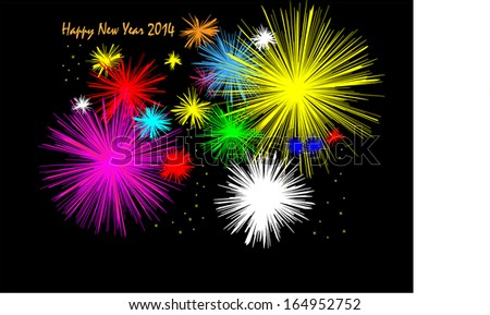 Midnight fireworks Happy New Year 2014 - stock vector