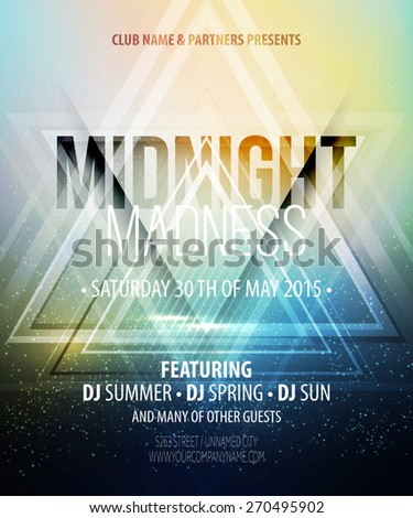 Midnight Madness Party. Template poster. Vector illustration  - stock vector