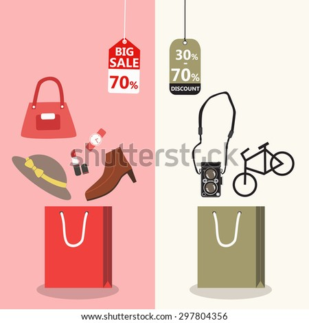 Midnight sale. Label price cuts. Product on Shopping bag. Red symbols. Hot sale. Vector illustration - stock vector