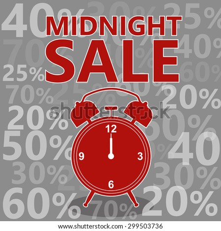 Midnight sale. Red symbols. Hot sale. Vector illustration - stock vector