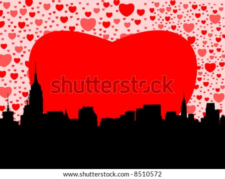 Midtown Manhattan happy valentines day with hearts illustration - stock vector