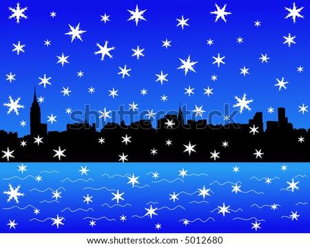Midtown manhattan New York City skyline in winter with falling snow - stock vector