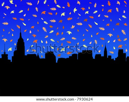 Midtown Manhattan skyline in autumn with falling leaves