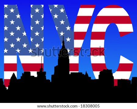 Midtown manhattan skyline with American flag text illustration