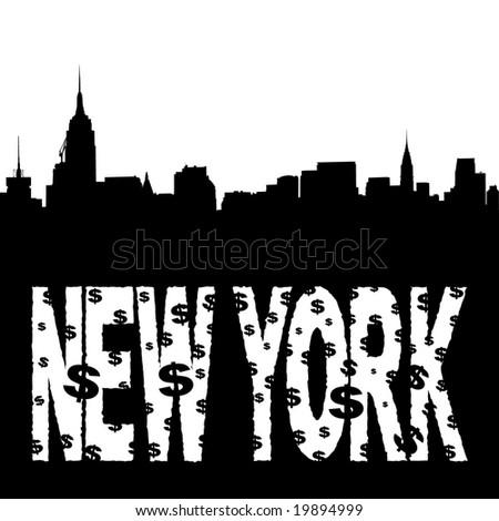 Midtown manhattan skyline with grunge New York text illustration - stock vector
