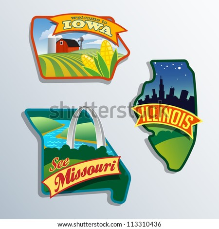 Midwest United States Illinois Missouri Iowa vector illustrations designs - stock vector
