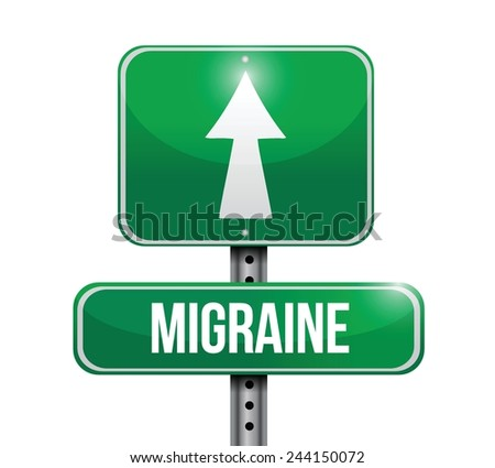 migraine street sign illustration design over a white background