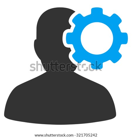 Migraine vector icon. Style is bicolor flat symbol, blue and gray colors, rounded angles, white background. - stock vector