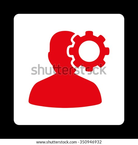Migraine vector icon. Style is flat rounded square button, red and white colors, black background. - stock vector