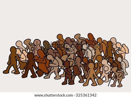 migrants in group - stock vector
