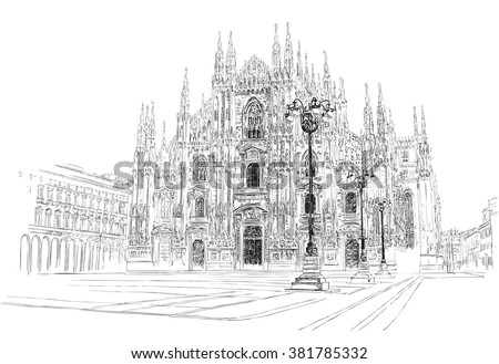 Milan Cathedral, hand drawing, vector illustration. - stock vector