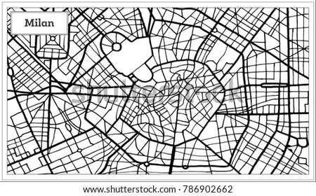 Milan Italy City Map Black White Stock Vector 786902662 Shutterstock