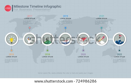 Infographic Business Horizontal Timeline Process Chart Stock Vector 590438870 Shutterstock