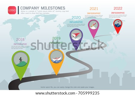 Milestone Timeline Infographic Design Road Map Stock Vector 705999235 Shutterstock