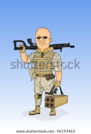 Militarist in the form of the desert with arms - stock vector