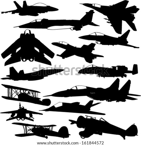 military airplanes collection 1 - vector - stock vector