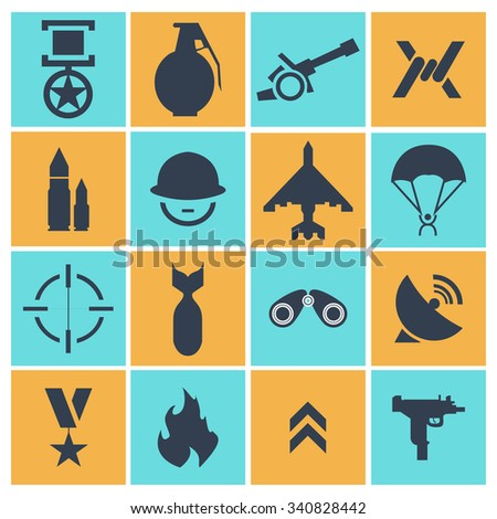 Military and war icons. war icons, universal set. vector illustration - stock vector