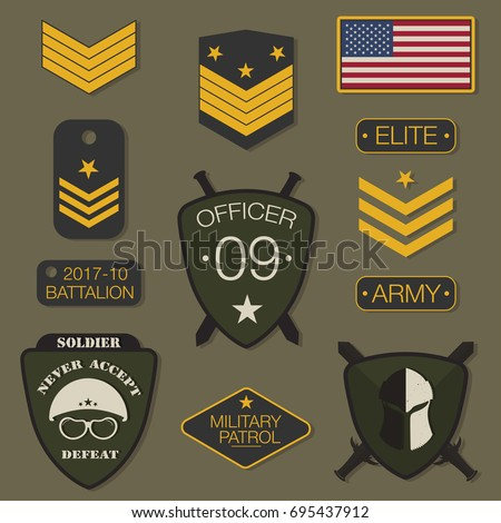 Military army badge set typography. T shirt graphics. Army patch, chevron, pin. Vector