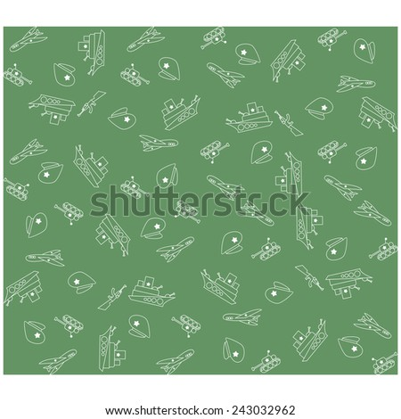 Military Background army seamless pattern. Tank, plane, cap, weapons, military ship. February 23 - stock vector