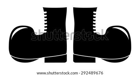 Military Boots Silhouette. Cartoon Army Boots