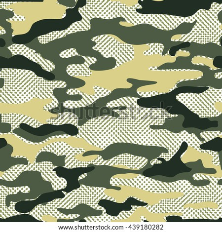 military camo background. Seamless vector pattern - stock vector