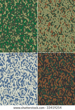 Military camouflage seamless patterns - stock vector