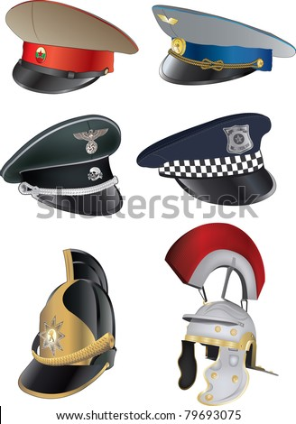 military caps - stock vector