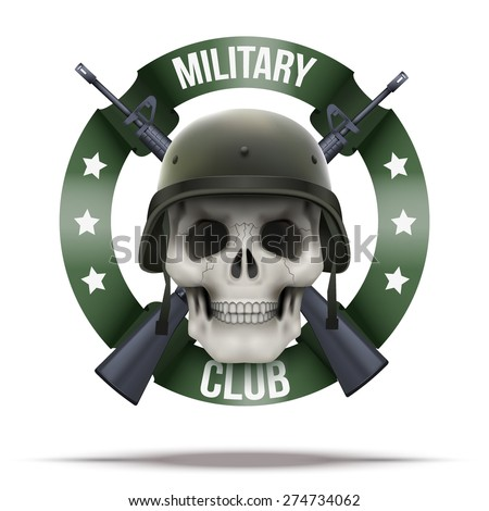 Military club or company badges and labels logo. Skull and M16 rifles. Vector Illustration isolated on background. - stock vector