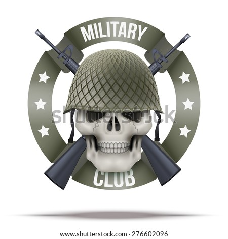 Military club or company badges and labels logo. Skull and rifles. Vector Illustration isolated on background. - stock vector