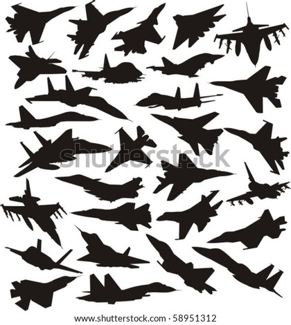 military combat airplane silhouettes set - stock vector