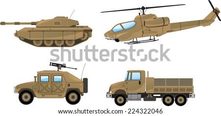 Military Desert Tank, helicopter, trunk, land vehicle. Vector illustration. - stock vector