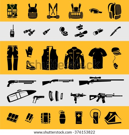 Military equipment, hunting and tourist equipment icons - stock vector