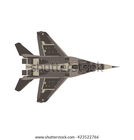military fighter jet top view monochrome flat icon in gray color theme illustration object - stock vector