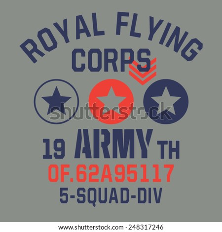 Military flying typography, t-shirt graphics, vectors - stock vector