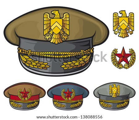military hats (military officer's caps, army caps) - stock vector