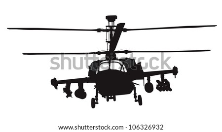 Military helicopter silhouette. Vector - stock vector