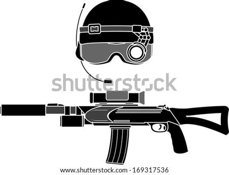 military helmet and assault rifle. stencil. vector illustration - stock vector