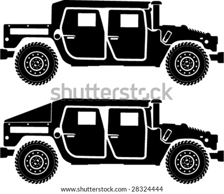Military Hummer Silhouettes standard h1 - stock vector