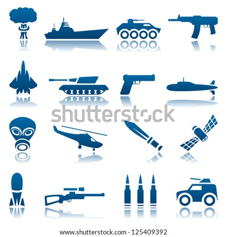 Military icon set - stock vector