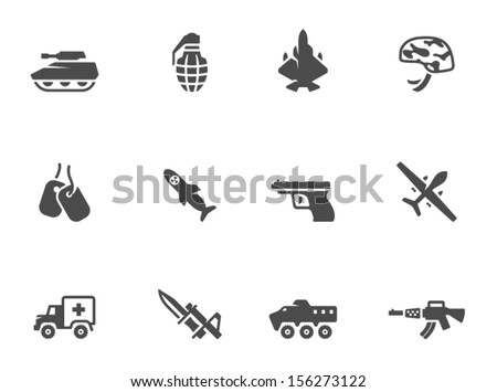 Military icons in black & white - stock vector