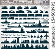 Military Icons Set. Collection of Black Silhouettes Include: Buildings, Weapons, Vehicles, Warships and Vessels, Planes, Trains and Soldiers. Vector Infographics Kit - stock vector