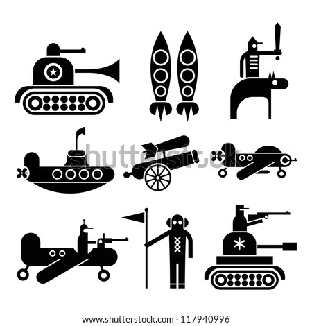 Military icons set. Isolated black vector icons on white background. - stock vector