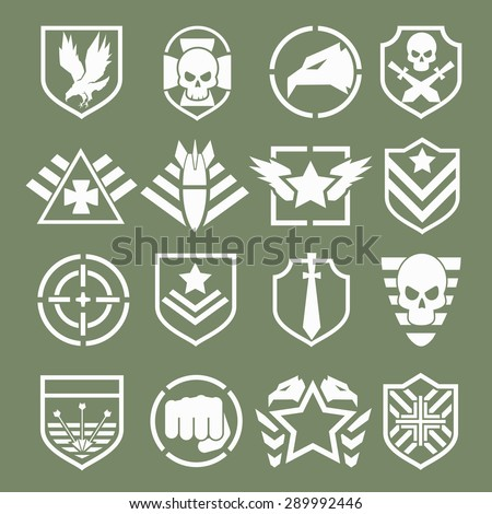Military logos of special forces set. Army shield, wing and skull. Vector illustration - stock vector
