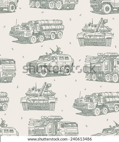 Military machines sketch drawings seamless pattern - stock vector