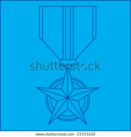 military medal blueprint - stock vector