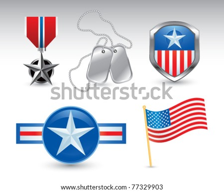 Military medal, dog tags, american flag, and military pins - stock vector