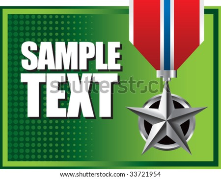 military medal icon on interesting halftone background - stock vector