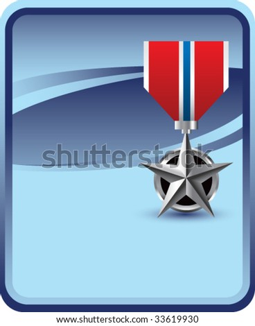 military medal on blue background - stock vector
