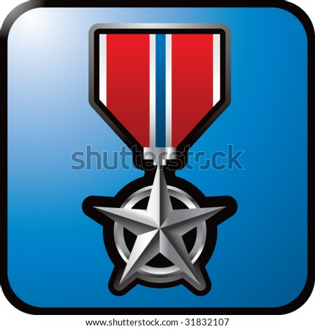military medal on blue web button - stock vector